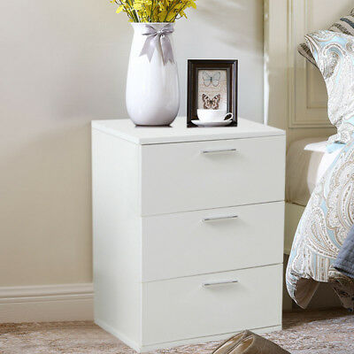 White Wooden Chest of 3 Drawers Cabinet Cupboard Bedside End Table Nightstand UK