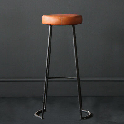 Tapas Bar-Cafe Industrial Stool Tan leather seat 67-78cm  contract / domestic