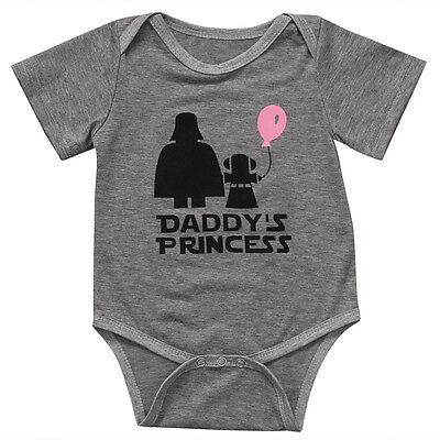 Cute Star Wars Infant Baby Girl Daddy's Princess Romper Bodysuit Clothes Outfit