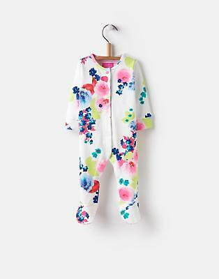 Joules 124735 Razamataz Baby Girls Babygrow in 100% Cotton in Ocean Bloom