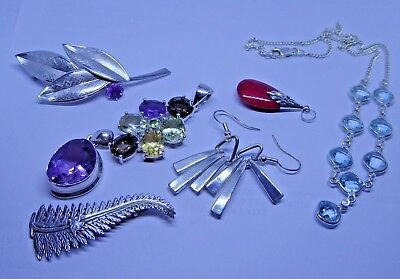 Job Lot of Silver Jewellery - Pendants / Brooches / Earrings / Necklace
