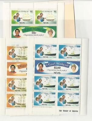Nevis, Postage Stamp, #135-140 Mint NH Sheets, 1981 Princess Diana, Ships
