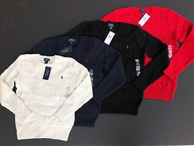 Ralph Lauren Polo Cable Crew Neck Sweater Pullover Dress Up Youth S M L XL NEW