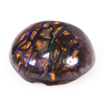 4.62 ct Boulder Opal. A round, domed cabochon with intense Blue play of colour.