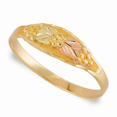 Black Hills Gold pinky ring womens size 2 3 4 on 10k yellow gold