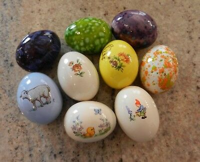 Lot of 9 Vintage Hand Painted Ceramic Easter Eggs Speckled Lamb Chick Rose