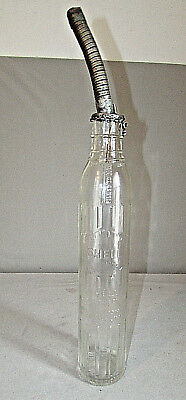 Vintage Shell Glass Oil Bottle One Imperial Quart With Metal Spout Canada Sign