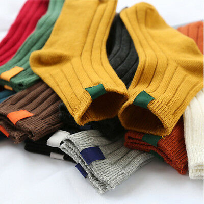 Winter Autumn Solid Color Warm Striped Christmas Hosiery Cotton Socks Stocking
