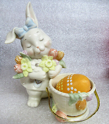 Lenox Rabbit Bunny with Her Basket Egg and Flowers Tulips Porcelain Figurine