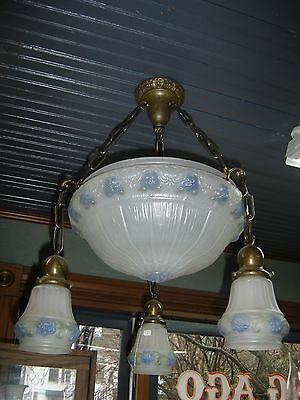 Antique Light  Fixture  Center Dome with 3 matching shades. 7860