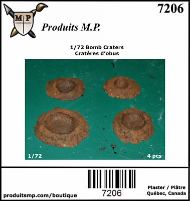 1/72 Bomb Craters Plaster Produits MP Wargames House Diorama #7206