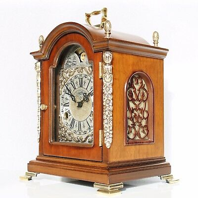 WARMINK Mantel Clock TOP! Dutch Moonphase HIGH GLOSS DOUBLE Bell! CHIME! Vintage