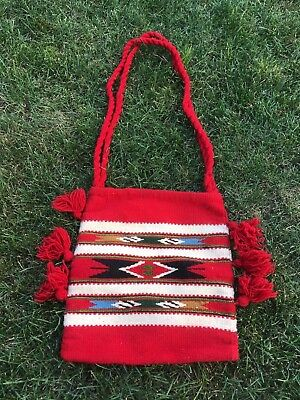 Vintage Southwestern United States Woven Wool Bag with tassels Possibly Navajo