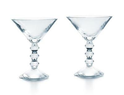 Vega by Baccarat Pair Clear Martini Glasses. New in Box.