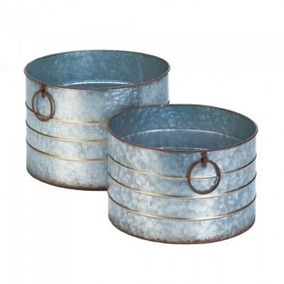 Rustic Country Farm-Style Galvanized Metal Flowerpot Planter Set 2 Styles Choice