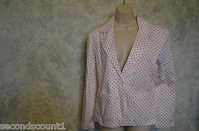 NWT In Moda pink & white polka dot jacket button front SZ 10  super cute #238