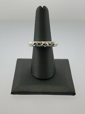 Dian Malouf Sterling Silver Stars Stacking Ring