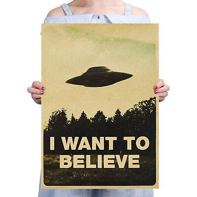 New Vintage Classic X Files I WANT TO BELIEVE Poster Home Decor Wall Sticker SUP