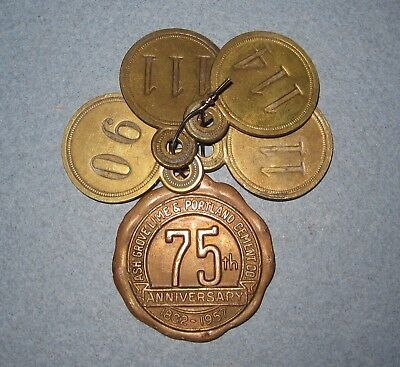 1957 75th Anniversary Keyring, Ash Grove Lime & Portland Cement Co-w/Brass #Tags