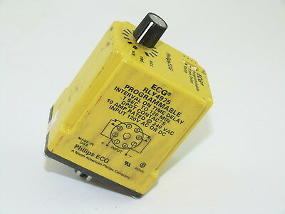 Philips ECG RLY4975 Time Relay 1 Sec to 120 Min 10a @ 240v Input 120v AC/DC Used