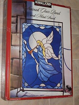 Beautiful NEW Stained Glass Angel Panel Complete with Display Stand ~ Costco
