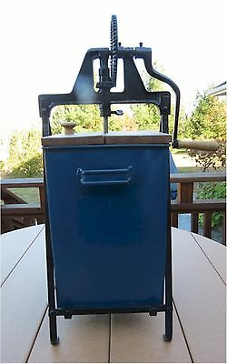 Antique Blue Metal Butter Churn Wood Paddle & Lids