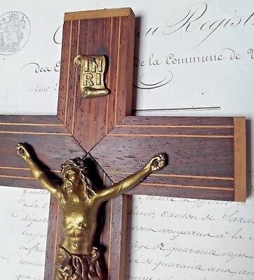 Antique Vintage French Wall Crucifix Wood Marquetry Cross 1930