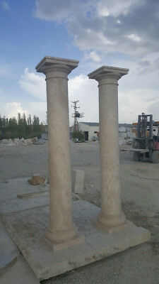 Eight (8) Magnificent Tuscan-Style Solid Travertine Columns