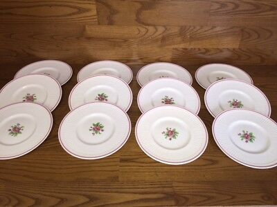 "12 CROWN STAFFORDSHIRE China Pink Flower 8"" Salad Plates ~ Excellent"