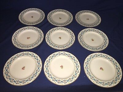 "9 Coalport Ribbon 6337 Bone China 8 5/8"" Luncheon Plates ~ Excellent"