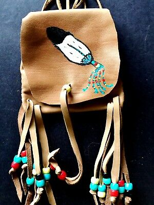 Feather Handpainted Lambskin Medicine bag, with fringe and Pony beads.