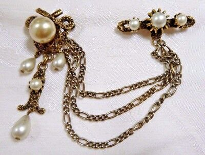 Ornate Vintage Victorian-Style Chatelaine Pin/Brooch Sim Pearls