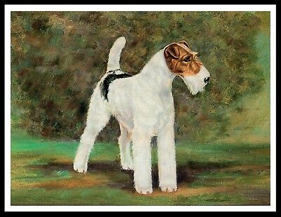 Wire Fox Terrier Standing Dog Lovely Image Vintage Style Dog Art Print Poster