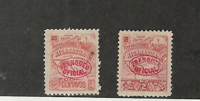 Nicaragua, Postage Stamp, #O96, O98 Mint Hinged, 1896 Official