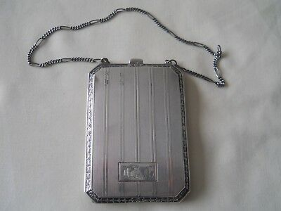 LADIES STERLING SILVER COIN DANCE PURSE CASE w/ CHAINE