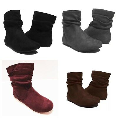 f7679ea88397 NEW Womens Short Wrinkle Slouch Ankle Boots Flat Heel Suede Booties BLK BRN  GRY