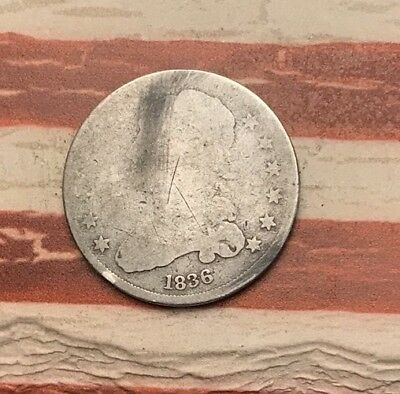 1836 25C Capped Bust Quarter 90% Silver Vintage US Coin #HX8 WOW Rare Key Date