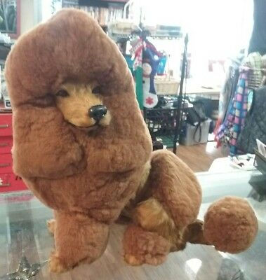"""Poodle Dog Figurine Plush Doll Statue Very Life Like 14"""" Tall Real Goat Fur New"""