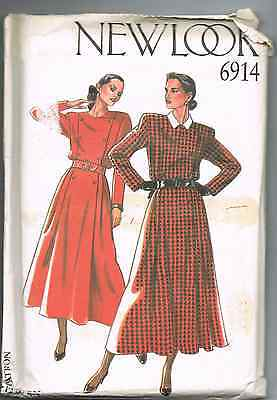 vintage dress pattern New Look Pattern 6914 Pattern  UNCUT sz 8-18 Dress Plaid