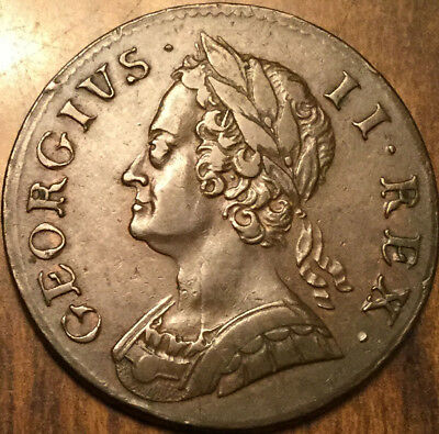 1753 Uk Gb Great Britain Half Penny A Truly Fantastic Example !!