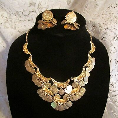 Vintage Chandelier Necklace & Clip On-Earrings Etched Gold Tone Made In Greece