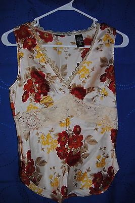 Women's NEW YORK & COMPAY Multi Color Floral Print Silk Camisole Size XS NWT