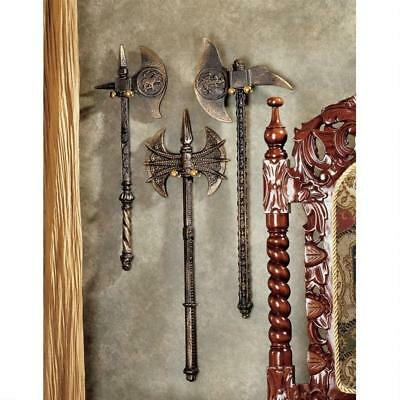 Set of 3: 19th Century Medieval Replica Axe Collection Cast Iron Wall Sculptures