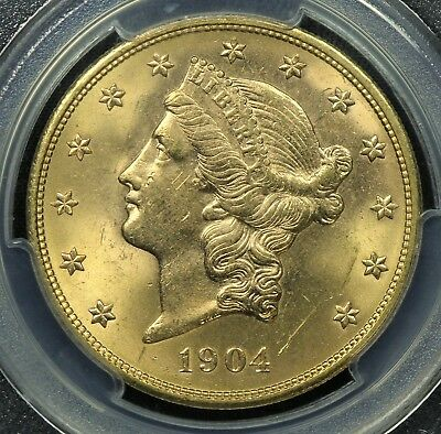 Pcgs Ms63 1904 $20 Gold Liberty Double Eagle  (Bc44)