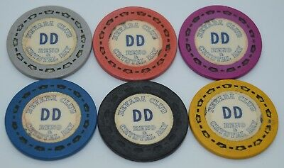 Set of 6 Nevada Club DD Roulette Casino Chips Reno/Crystal Bay NV Sm-Crown Mold