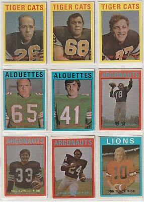 1972 OPC (O-PEE-CHEE) CFL FOOTBALL STARTER SET OF 31 OF 132, LOT OF STARS, RC's