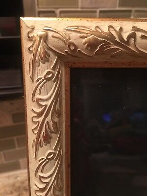 Vintage Ornate 8x10 Wood Picture Frame White w/ Gold Trim Victorian NICE