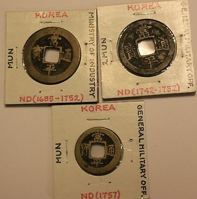 Group Korea Coins General Military Office Ministry Of Industry 1685 1742 1747