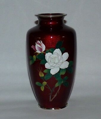 Antique Japanese Sato Cloisonne Vase, Roses, Bamboo, Pigeon Blood Red.