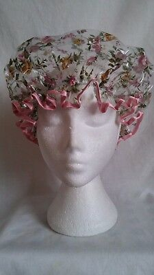 Pretty Roses Shower Cap with Pink Trim